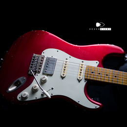"TMG Guitar Co. Dover HSS ""Candy Apple Red""  5AFlame maple 22F Soft Aged & Midium Checking"