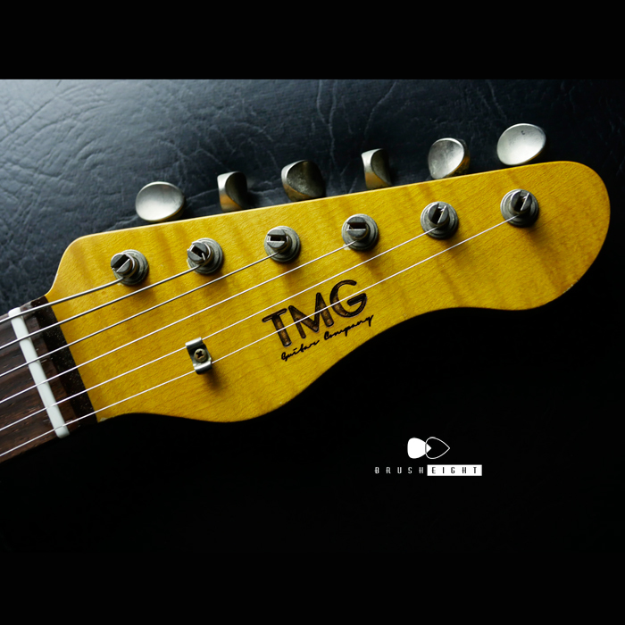 "【SOLD】TMG Guitar Co. Dover HSS 22F  ""Candy Apple Red""  Soft Aged & Checking "" 5AFlame Maple"""