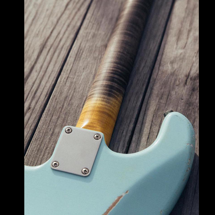 "ComigSooon!! TMG Guitar Co. HSS Dover Sonic Blue ""Flame Maple"""