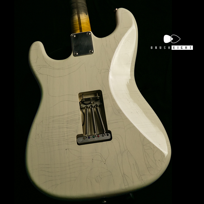 "【SOLD】TMG Guitar Co. Dover HSS ""Transparent White"" Heavy Aging & Checking 5A Flame"