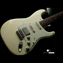 "【SOLD】TMG Guitar Co. Dover HSS ""White Blonde"" Medium Aging 5A Flame"